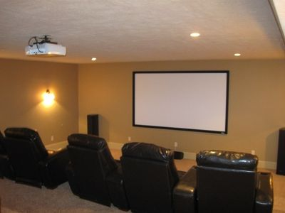 Theater Room with 9 Large Recliners