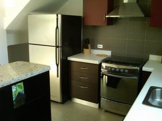 Fully equipped kitchen with fridge stove, and dishwasher