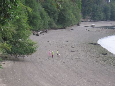 Low tide leaves a large, open beach