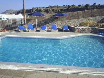 Pefkos villa rental - sparkling clear luxury size shaped pool