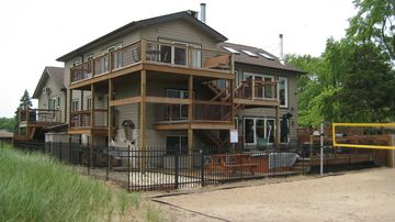Miller Beach villa rental - Lake Michigan side of house taken from Pro-Sand Volleyball court