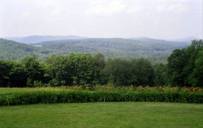 View from the terrace, over the great lawn to the north pasture.