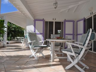 St Barthelemy villa photo - The outdoor dining area, uniquely shielded from the wind