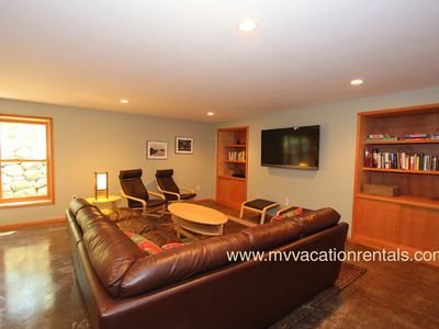 Lower Level Family Room with TV, Bath and Ping Pong Table