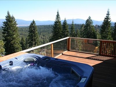 Panoramic view from private hot tub on living room deck