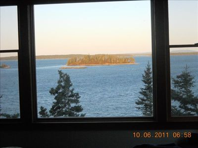 morning light looking at Eagle Island where an eagles nest is, watch them!