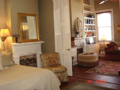 View from Bedroom into Sitting Area of Fleur de Marigny Guest Suite.