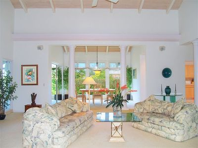 Princeville house rental - Gorgeous Living Room with Cathedral Ceiling