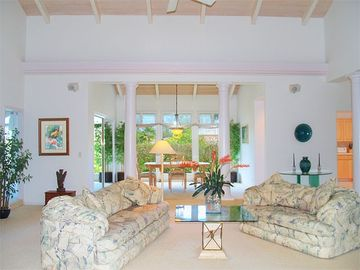 Princeville house rental - Gorgeous Living Room with cathedral ceiling - spacious, airy, delightful