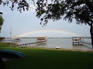 Eagle Mountain Lake house photo - A rainbow over 'your' dock