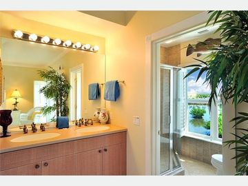 The Master Bath: twin vanities, custom shower, separate W/C