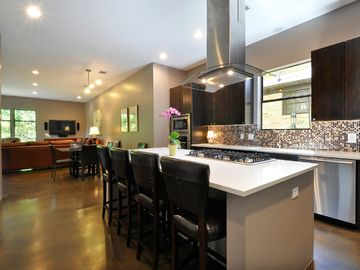 Kitchen into open floor plan