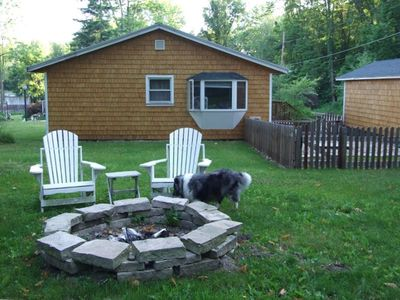 Private Grassy Yard Surrounded by Trees. Stone Firepit and Adirondacks.