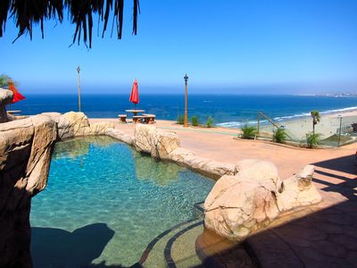 Redondo Beach villa rental - Pool and Coastline View from patio in Rear Yard