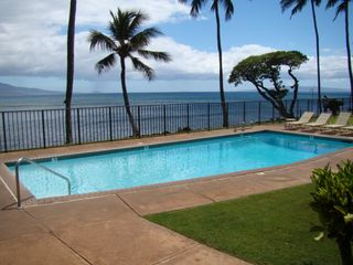 Maalaea condo photo - Pool and BBQ area which is less than 60' off ocean!!!