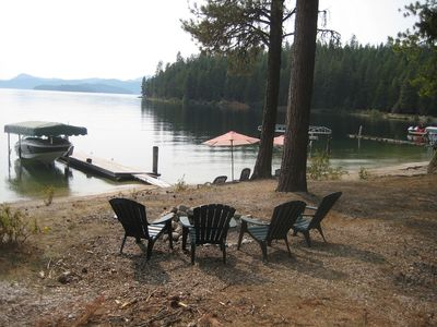 Priest Lake cabin rental - Our firepit. The piece of land right in front is Eight Mile Island.