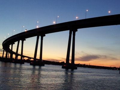 Schedule your discounted cruise! Coronado Bay Bridge at sunset