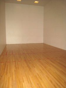 Racquetball court, sauna, workout facilities