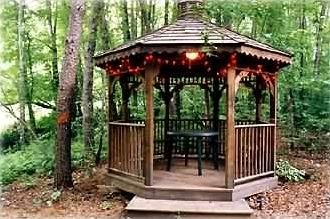 PLAY CARDS AT THE GAZEBO BY THE CREEK OR ENJOY COFFEE OR A GLASS OF WINE