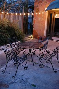 Austin house rental - Patio lights on a warm night.