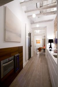La Ribera El Borne apartment rental - Oven and wine cooler. Exposed wood beams