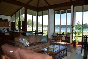 Open family room, dining and kitchen. Spectacular view with large windows.