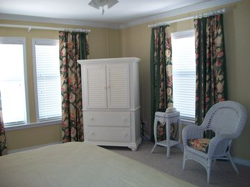 Master Bedroom Chest of Drawers w/TV, DVD, Custom drapes w/room-darkening lining