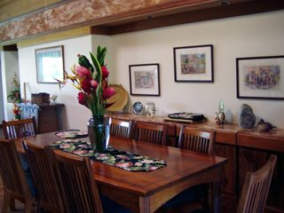 Anini Beach house photo - Great room dining for 8 at handmade Koa wood table