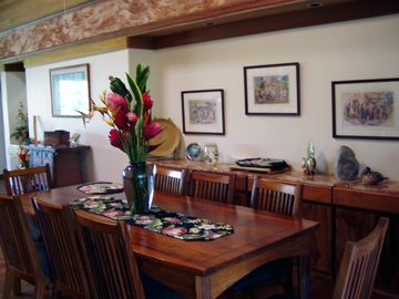 Great room dining for 8 at handmade Koa wood table