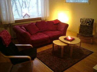 Reykjavik apartment photo - Living room with a sofa and two chairs.