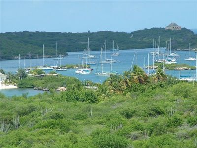 Curacao villa rental - view from the roofed porch on the spanisch water.