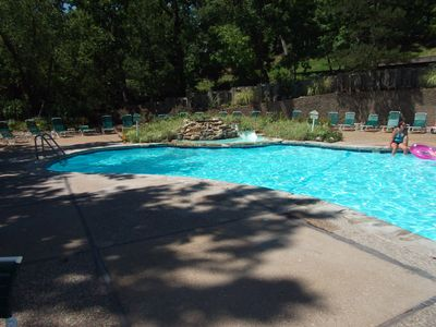 The Cedar Glean pool is approximately one block away from our home