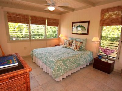 "MASTER BEDROOM W/KING BED DECORATED IN AQUA ""HAPU"" AT HONU KAI"