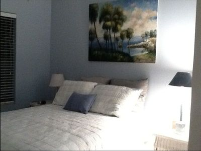 same blue bedroom with new artwork!