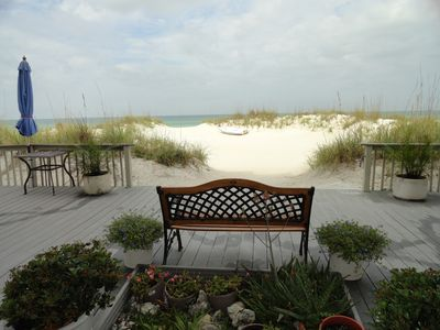 Relax on the patio and private beach with a view of the Gulf of Mexico