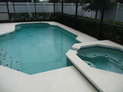 Pool and Spa showing privacy fence