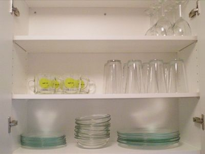 The kitchen comes fully stocked with cookware, glassware and cooking utensils.