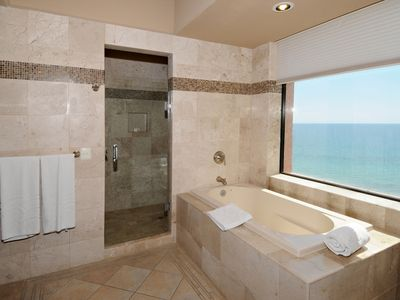 The 2nd master bath, elegantly appointed and comes with a view!