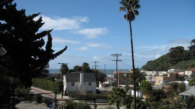 View from kitchen - Pacific Ocean and the mouth of Santa Monica Canyon.