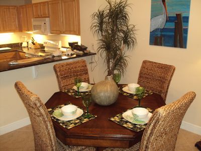 Enjoy the dining area whether you bring takeout or cook some fresh seafood!