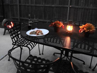 Grapevine house rental - Patio table seats 6-cozy up to the chiminea with a glass of wine!