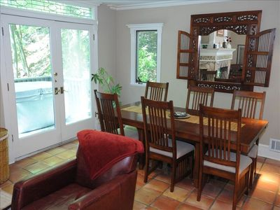 Dining table with extra chairs for 8