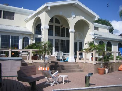 Rockport house rental - Veranda at back & dock big enough to tie up a 41 ft yacht or launch kayaks