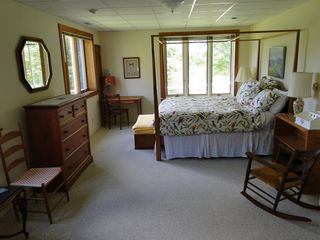 Ascutney farmhouse photo - Bedroom with king bed and sitting area