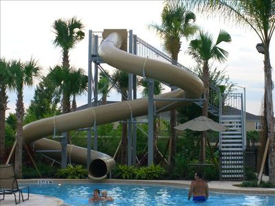 2 story water slide at the clubhouse