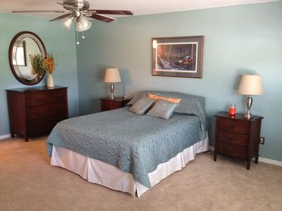 Spacious master suite begins with a comfortable queen size Sleep Number bed