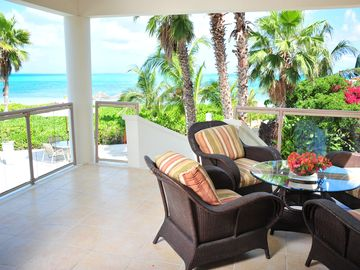 patio with views of Grace Bay