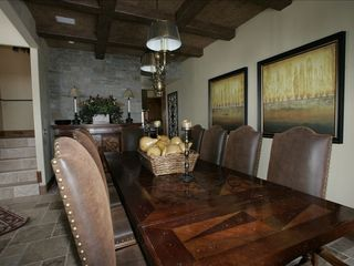 Park City house photo - Dining room table with wood inlay & leather chairs