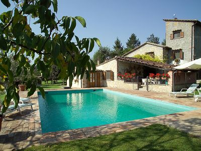 Beautiful stone country house with private pool, green park.
