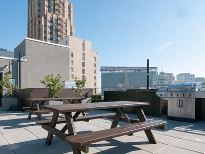 The rooftop deck is more reminiscent of a luxury hotel than an apartment bldg.